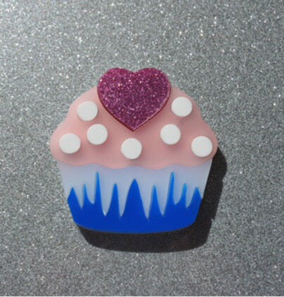 Sweet Heart Cupcake Brooch