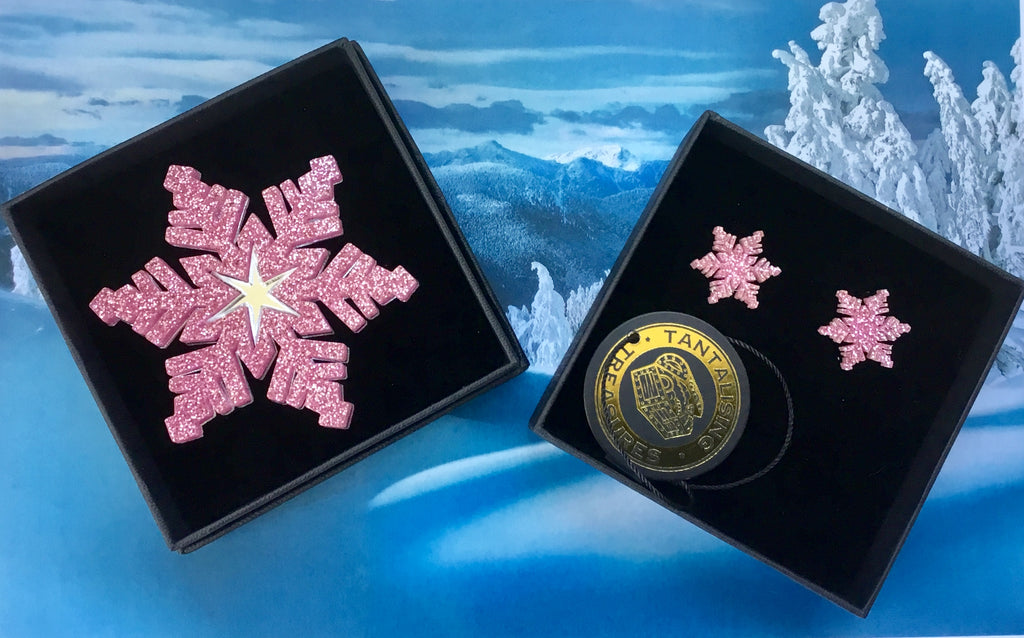 Pink Snowflake Brooch & Earring Set