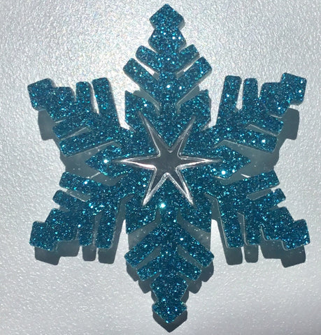 Bright Blue Snowflake Brooch