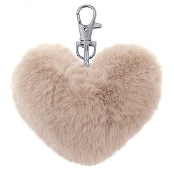 Key Chain - Fluffy Heart - Blush -Rosie's Gift Shop and Homeware