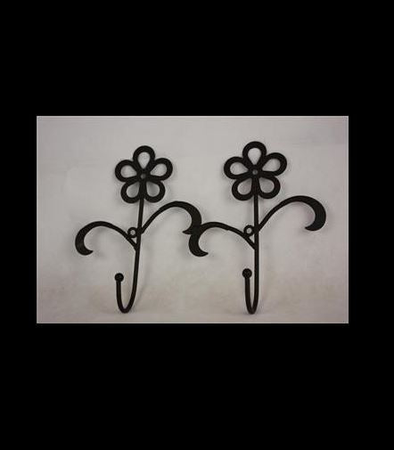 Wall Hooks -2 Black Flowers - Rosie's Gifts and Homeware