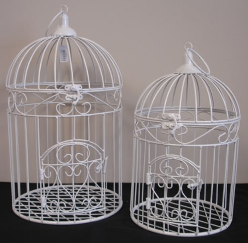 Metal Bird Cage - White - Small - Rosie's Gifts and Homeware