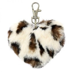 Key Chain - Fluffy Heart - Leopard -  Rosie's Gift Shop and Homeware