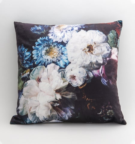 Cushion - Black with White flowers - Rosie's Gifts and Homeware - Gift Shop NZ