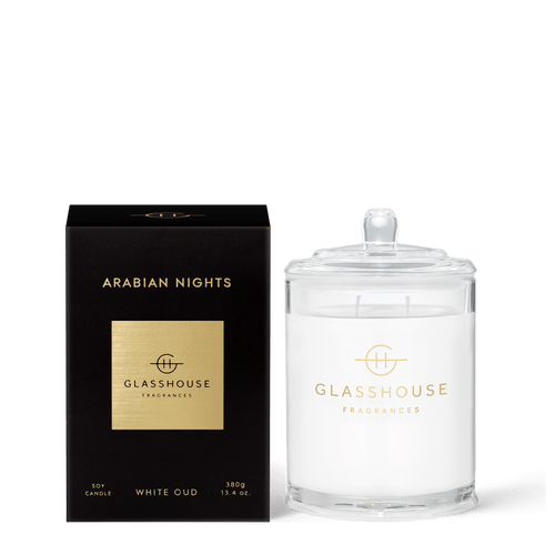 Glasshouse Fragrances- Soy Candle 380g - ARABIAN NIGHTS - Rosie's Gifts and Homeware