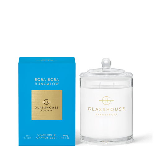 Glasshouse Fragrances-Soy Candle 380g - BORA BORA BUNGALOW -Rosie's Gifts