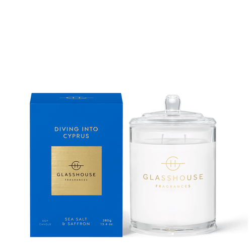 Glasshouse Fragrances-Soy Candle 380g - DIVING INTO CYPRUS -Rosie's Gifts