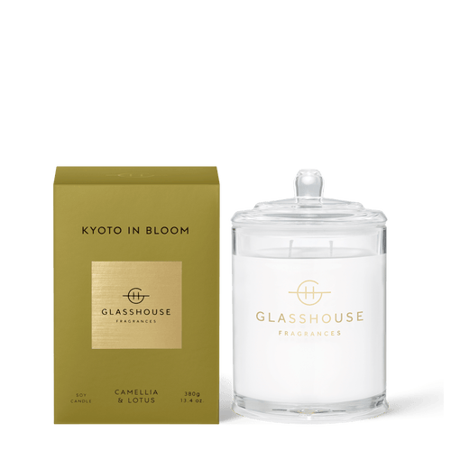 Glasshouse Fragrances- Soy Candle 380g - KYOTO IN BLOOM - Rosie's Gifts and Homeware