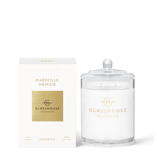 Glasshouse Fragrances- Soy Candle 380g - MARSEILLE MEMOIR - Rosie's Gifts and Homeware