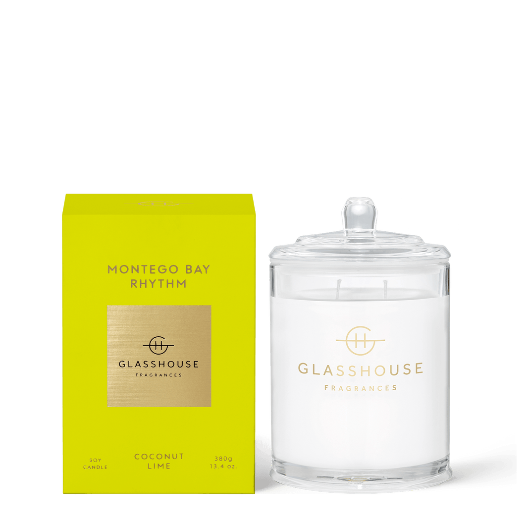 Glasshouse Fragrances- Soy Candle 380g - MONTEGO BAY RHYTHM - Rosie's Gifts and Homeware