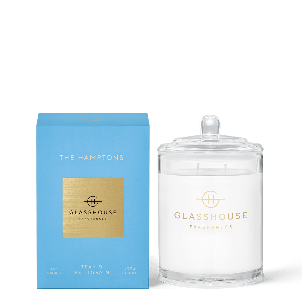 Glasshouse Fragrances-Soy Candle 380g - THE HAMPTONS -Rosie's Gifts