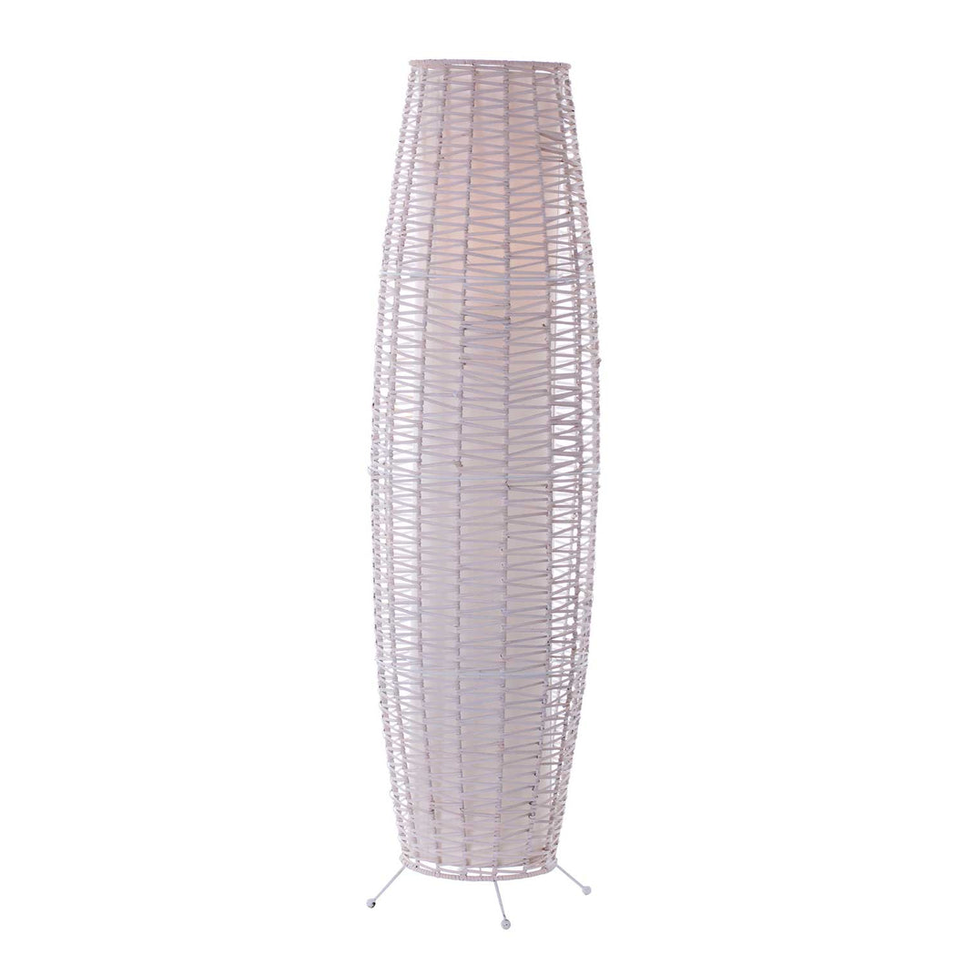 Lamp-White Wash Metal and Rattan-Rosie's Gifts and Homeware-Gift Shop