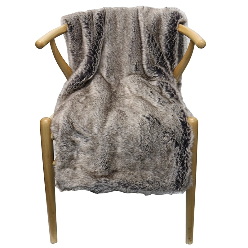 Throw - Faux Fur - Slate- Rosie's Gifts and Homeware - Gift Shop NZ