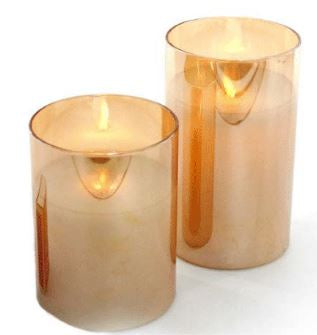 Glass LED Wax Candles - Amber - Medium - Rosie's Gifts and Homeware