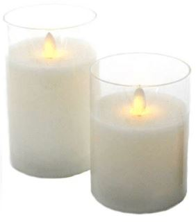 Glass LED Wax Candles - Clear- Medium - Rosie's Gifts and Homeware