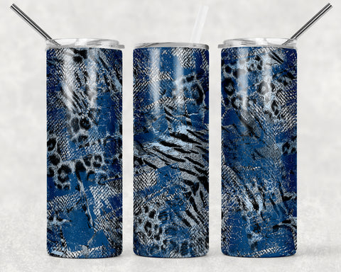 Blue Cheetah Wrap For Sublimation Tumbler-100