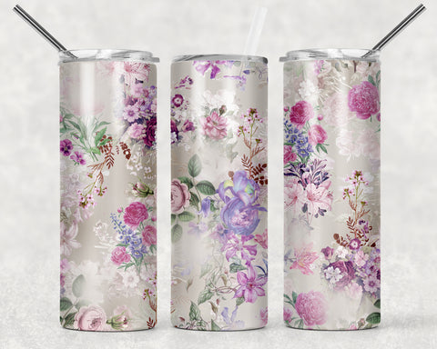 Floral Grey Background Wrap For Sublimation Tumbler-106