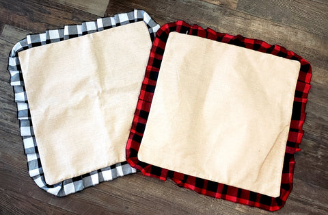 Plaid Ruffle Burlap Pillow