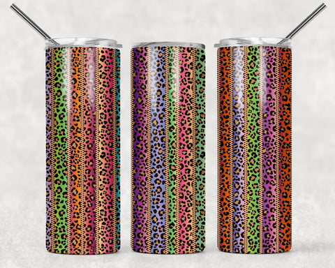 Stripe Leopard Wrap For Sublimation Tumbler-234