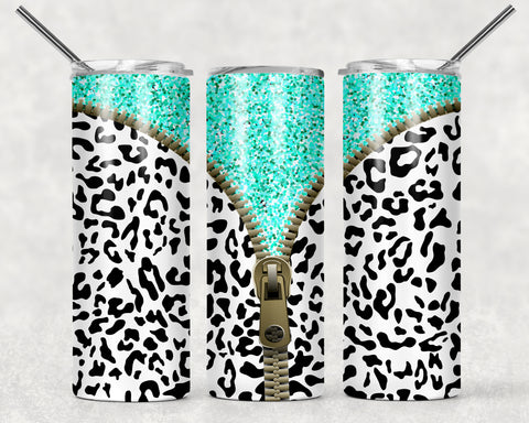 Leopard Zipper Mint Wrap For Sublimation Tumbler-249