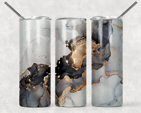 Black and Gold Abstract Wrap For Sublimation Tumbler-29