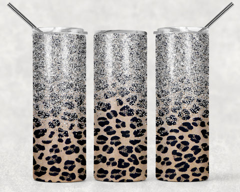 Silver Glitter Leopard Wrap For Sublimation Tumbler-301
