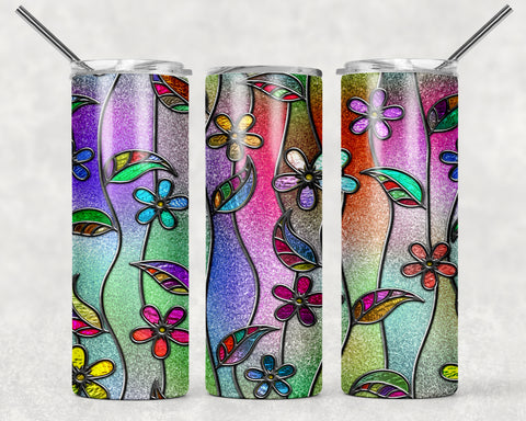 Floral Glitter Wrap For Sublimation Tumbler-319