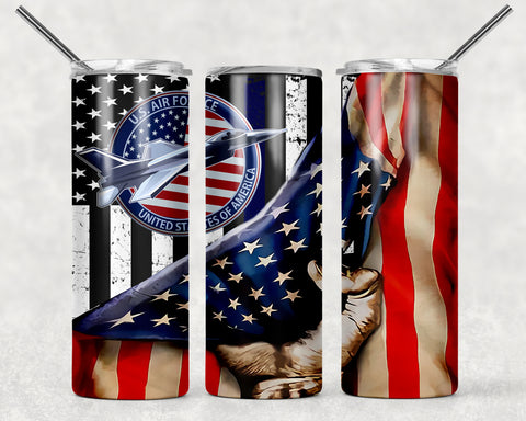 Air Force Flag Wrap For Sublimation Tumbler-336