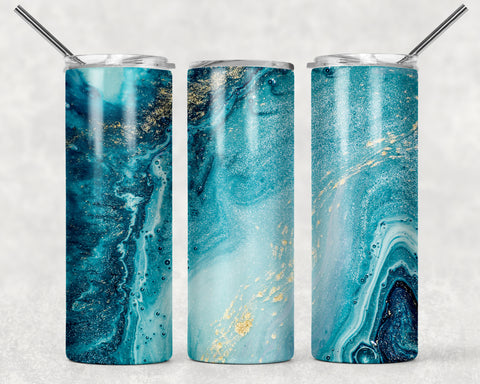 Blue With Gold Abstract Wrap For Sublimation Tumbler-3
