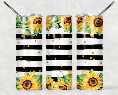 Sunflowers With Black Stripe Wrap For Sublimation Tumbler-6