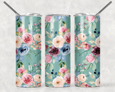 Teal Floral Wrap For Sublimation Tumbler-99