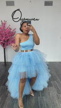 Load and play video in Gallery viewer, Custom Sky Blue Orchid skirt set