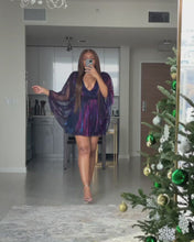 Load and play video in Gallery viewer, Holiday Mini dress Purple/Blue