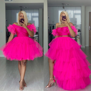 Custom made hot pink skirt set