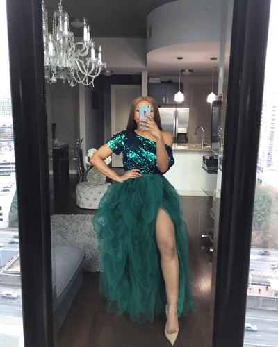 Emerald hi slit skirt set