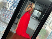 Load image into Gallery viewer, Red Beaded hi slit dress