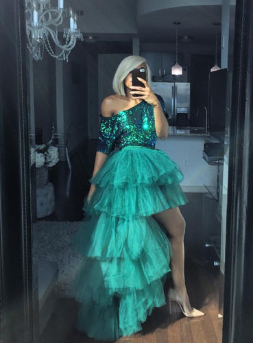 Sequins emerald green blue top