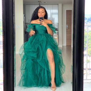 Custom made Emerald tulle sleeve skirt set