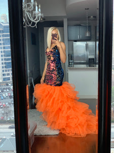 Orange tulle sequins dress