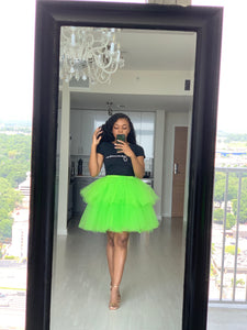 Custom made neon green mini orchid skirt
