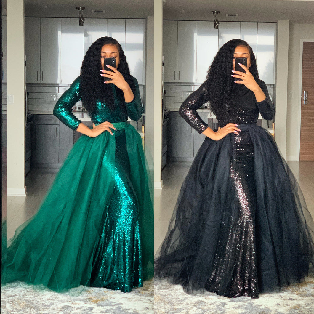 Sequins maxi tulle dress
