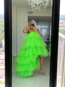 Orchid Dress in Neon Green
