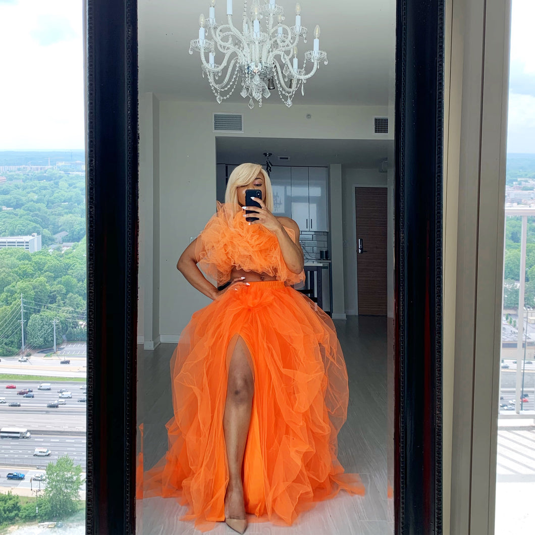 Orange hi slit sequins skirt set