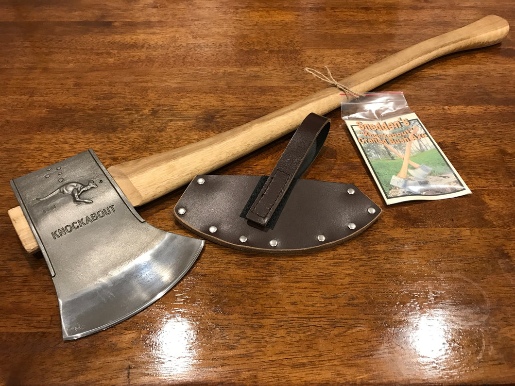 Knockabout Axe with spotted gum handle 2.1kg. including leather cover