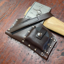 Knockabout / Race Axe Cover with sharpening stone pouch -  Brown, Black Leather available