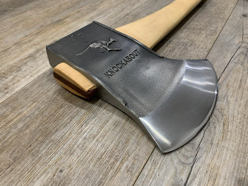 Knockabout Handcrafted Axe 2.1kg with hickory handle and cover.