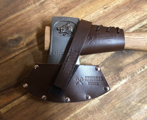 Leather Razorback Hatchet handle protector. Available in Brown , Black and Natural leather