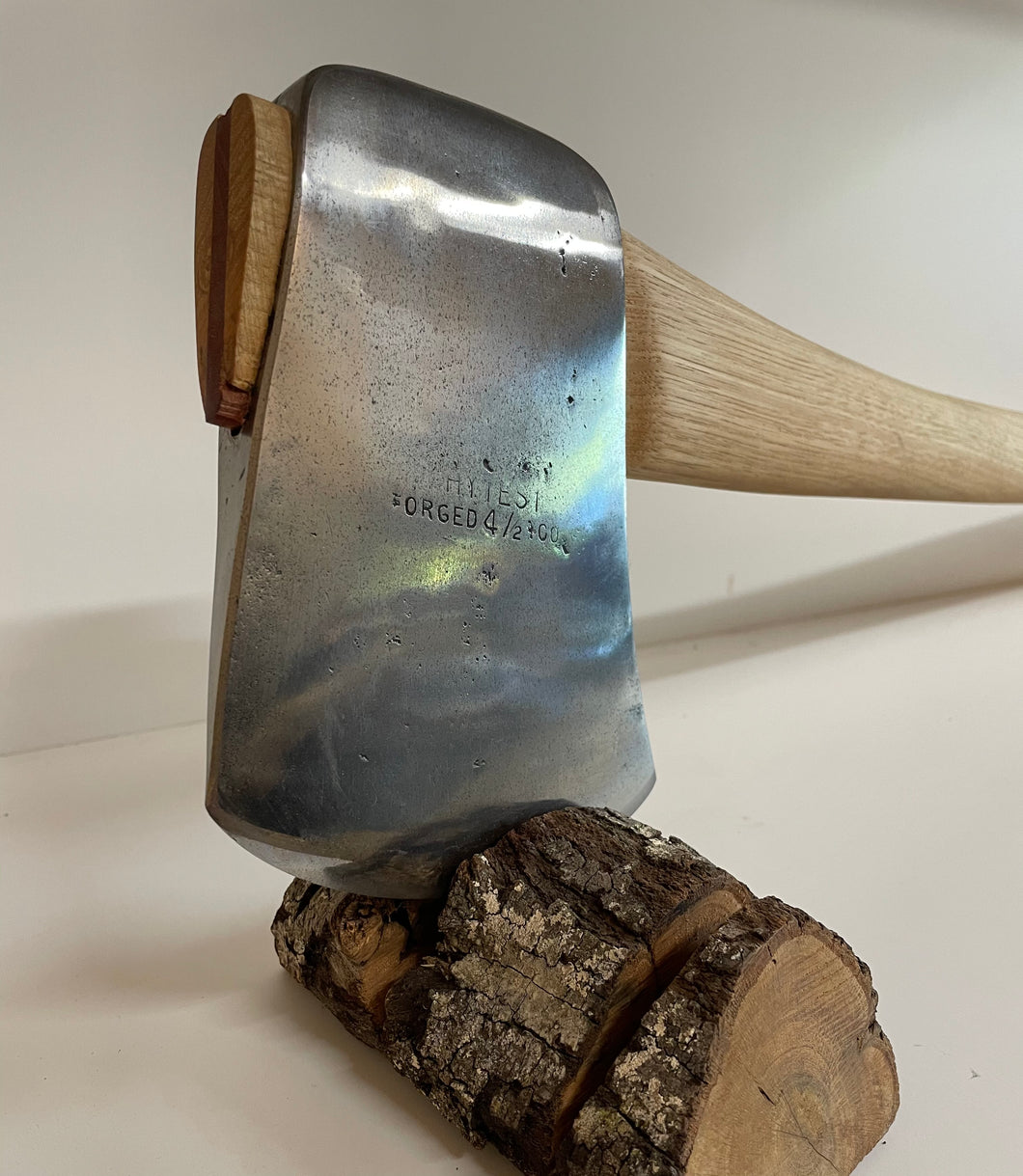 SOLD. Hytest 4 1/2lb Reconditioned Axe including leather cover and hickory handle