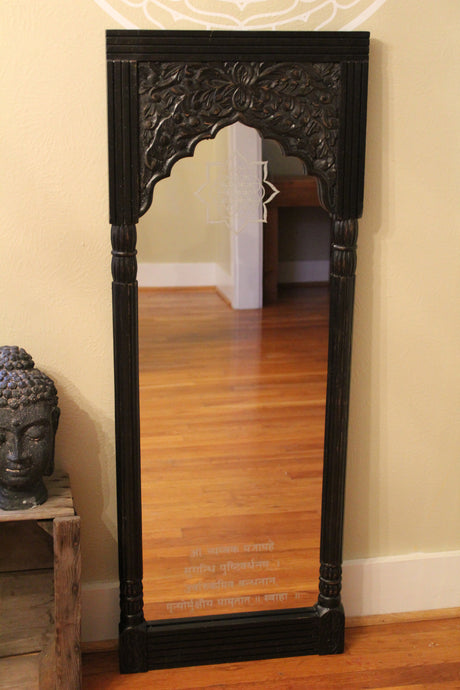 Carved, Dark Wood Mirror with Sacred Geometry and Spiritual Etchings