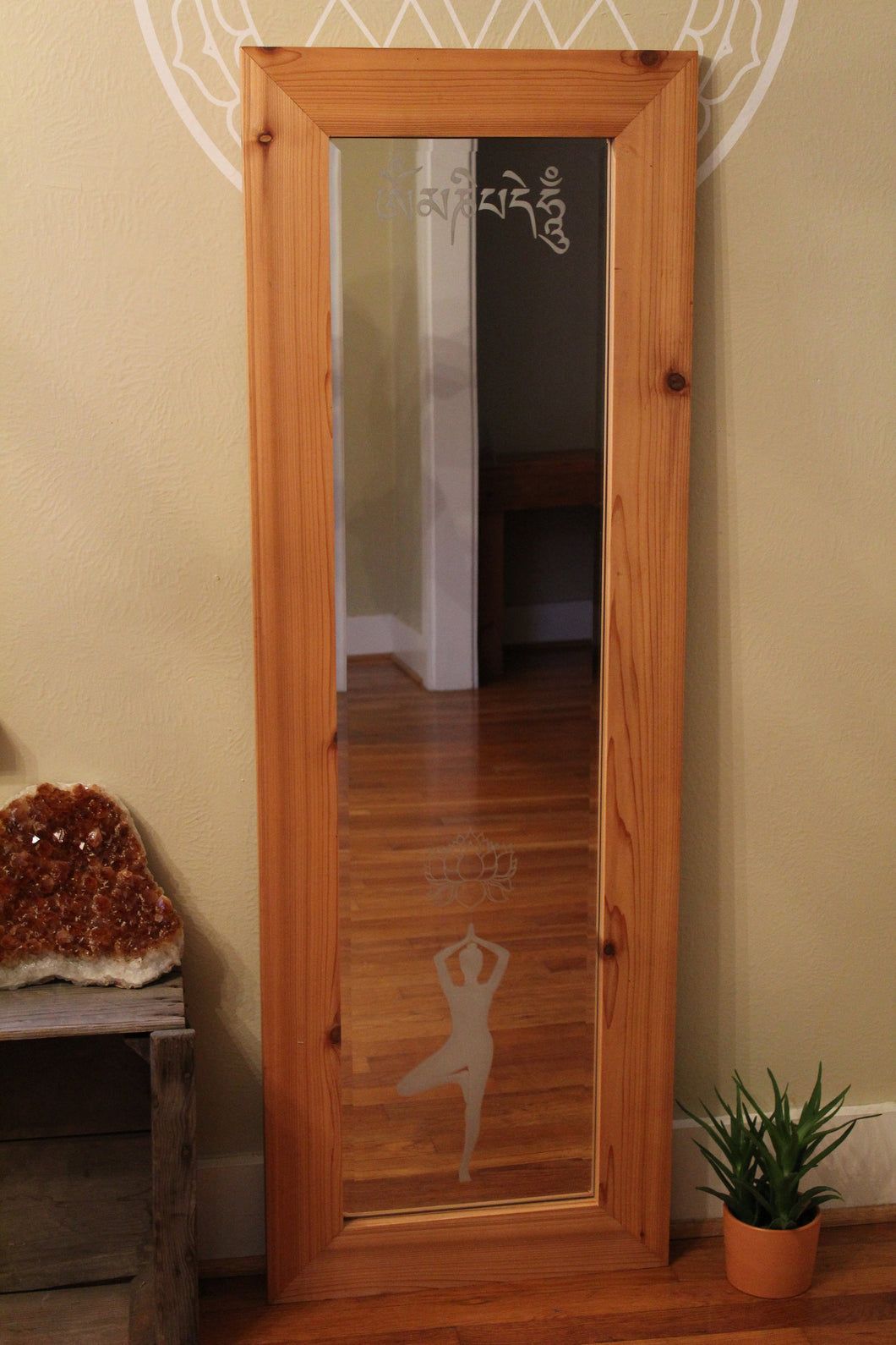 Full Length Etched Mirror with Mantra and Yoga Image